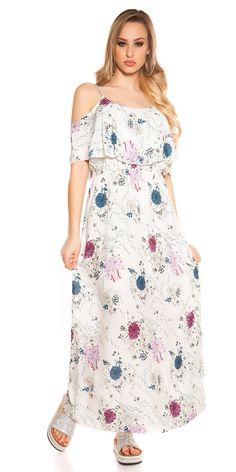 Letní květované maxišaty na ramínka, doplněno volánem.  Barva: slonová kost  Materiál: 100% viskóza Cold Shoulder Dress, Dresses, Fashion, Vestidos, Moda, Fashion Styles, The Dress, Fasion, Dress