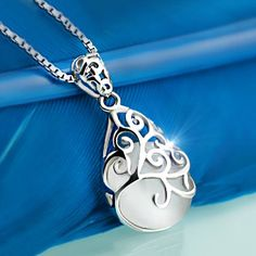 Lucky Opal Inlaid 925 Sterling Silver Necklace For Women
