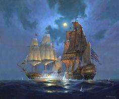 23 September 1779 - John Paul Jones, aboard the Bonhomme Richard, captures British man-of-war Serapis near English coast