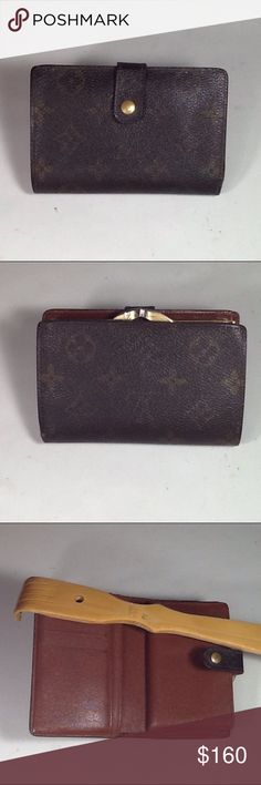 Authentic Louis Vuitton Porte Monaire Brown Wallet Canvas and leather showed signs of used. The wallet was made in France with a date code MI 0042. The dimension is 3.5, 5 and 1. Louis Vuitton Accessories