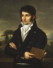 Lucien Bonaparte par François-Xavier Fabre- Lucien Bonaparte, prince de Canino (Ajacco 1775-Viterbe, Italie 1840). Président du Conseil des Cinq-Cents (1798), il joue un rôle décisif dans le coup d'Etat du 18 brumaire, évitant in extremis un grave échec de Napoléon. Ministre de l'intérieur (1799), ambassadeur en Espagne (1800) puis membre du Tribunat, il est souvent en désaccord avec son frère et fait preuve d'un remarquable esprit d'indépendance et de promptitude dans ses décisions.