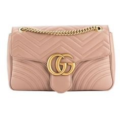 Pre-Owned Gucci Nude Leather Gg Marmont Matelasse Shoulder Bag ($2,005) ❤ liked on Polyvore featuring bags, handbags, shoulder bags, black, leather hand bags, man bag, gucci shoulder bag, leather purses and gucci purse