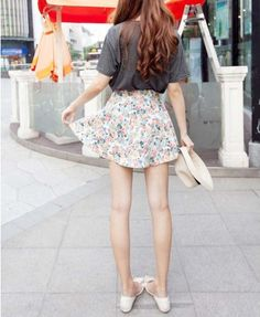 Denim Skater Skirt in Floral Print