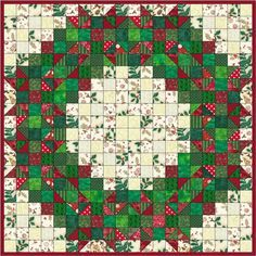 Welcome Wreath Quilt Pattern (beginner, wall hanging). Squares and HSTs. Beginner Quilt Patterns, Quilt Block Patterns, Quilt Blocks, Beginners Quilt, Christmas Quilt Patterns, Christmas Sewing, Christmas Quilting, Christmas Pillow, Christmas Crafts
