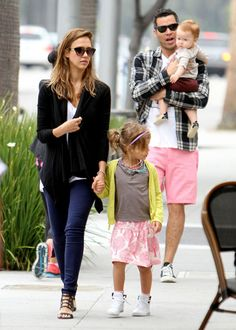 Jessica Alba and Cash Warren take their daughters Honor and Haven out for breakfast in Beverly Hills.