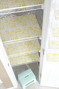 Cover foam board in fabric or decorative paper to fill in wire shelving.