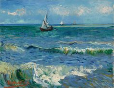 Grains of sand have been found in the paint layers of Seascape near Les Saintes-Maries-de-la-Mer. So we can tell Van Gogh painted this sea view from the beach. Maybe the wind was blowing, or perhaps he dropped his brush onto the sand. @vangoghmuseum