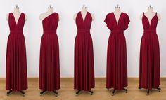 Burgundy Maxi Infinity Dress Convertible Bridesmaid by CharmAngell