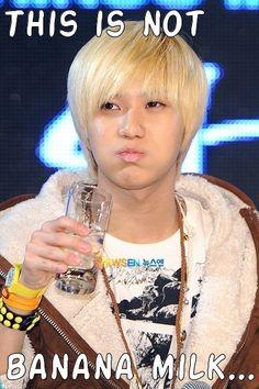 Taemin and his banana milk..lol