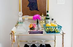 Fun home bar cart is a must of entertaining