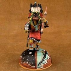 Small Hopi Chasing Star Kachina by Milton Howard, hand carved cottonwood, realistic feather work, mini Sunface on an exquisite headdress, hallmarked. Native American Crafts, Native American Artists, Wood Sculpture, Headdress, Nativity, Planets, Hand Carved, Feather, Miniatures
