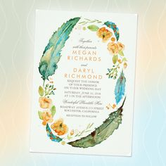 Teal watercolor boho wedding invitation collection with hand painted tribal feathers and flowers | available in three color themes ... teal ... indigo blue ... gray and pink | click to shop this Zazzle Editors' top pick wedding invitation and the full collection by artist Jinaiji at Zazzle