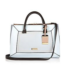 Blue structured hinged handbag