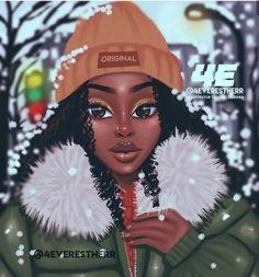 Winter in Brampton Art Print by foreverestherr Black Love Art, Beautiful Black Girl, Black Girl Art, Art Girl, African American Art, African Art, Drawings Of Black Girls, Arte Black, Art Et Design
