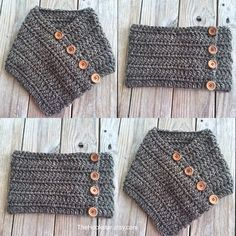 Unisex Chunky Crochet Infinity Scarf, Huntress Cowl, Chunky Crochet Cowl, Tweed Granite Brown Infinity Cowl, Outlander Cowl, Cowl w/ Buttons by TheHookster on Etsy