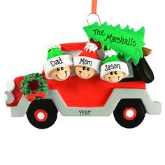 Car Family Of 3 Personalized Holiday Ornament