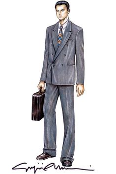 A costume sketch by Giorgio Armani for the 'The Wolf of Wall Street' stockbroker Jordan Belfort, played by Leonardo DiCaprio. Theatre Costumes, Ballet Costumes, Movie Costumes, Sandy Powell, Costume Design Sketch, Jordan Belfort, Armani Suits, Man Illustration, Fashion Art