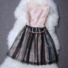 Free Shipping Ladies Short Mini Dress Organza Patchwork Rose Print Women Dress Female Actual Summer Dress Formal Party Dresses $86.00