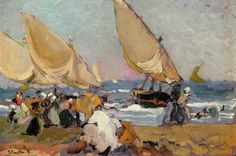 Sailing Vessels on a Breezy Day Valencia Three Boats By A Shore by Joaquin Sorolla Y Bastida oil paintings