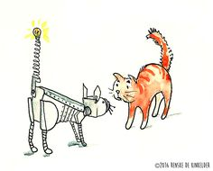 Meeting Robotcat, pen and watercolour by Renske de Kinkelder