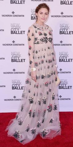 Olivia Palermo struck an ethereal note at the New York City Ballet 2015 Spring Gala and graced the red carpet in an airy floral-embroidered Valentino dress, complete with bangles and an embroidered clutch.