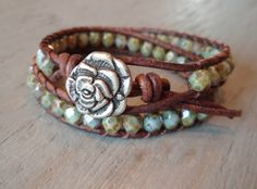 """Beaded leather wrap bracelet """"Earthy Rose"""" distressed brown leather, sparkily rustic weathered green turquoise, shabby boho glam."""