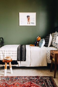 It& been almost two whole months since my baby started sleeping upstairs in his brand new BIG BOY room. My heart was not quite ready for the transition, but Dawson was. He handled it like a & Olive Green Bedrooms, Bedroom Green, Bedroom Decor, Bedroom Ideas, Bedroom Designs, Olive Bedroom, Olive Green Walls, Kids Bedroom Boys, Big Boy Bedrooms
