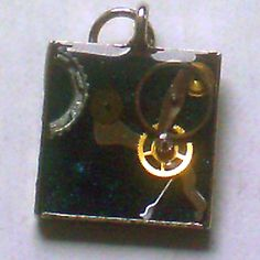 Blue Glitter Square Steampunk Pendant by ElementalKarma on Etsy, $8.00