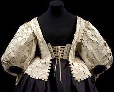Bodice.England.1630-1639(made).Maker Unknown.Silk satin,silk taffeta,canvas,buckram and whalebone