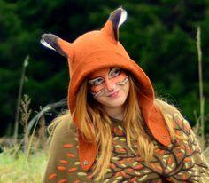 Fox Hat. Fox Ear Hood. Fantasy Hat. Cosplay Hat. LARP.