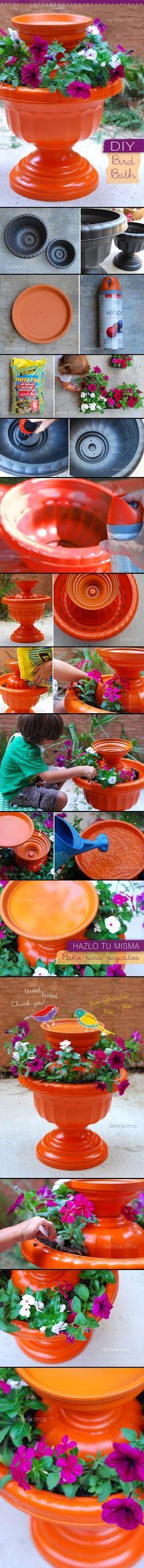 DIY Birdbath Planter -Cheap Easy Up-cycle Garden Bird Bath Feeder- Bird Feeder Garden Crafts, Garden Projects, Do It Yourself Baby, Diy Bird Bath, Pot Jardin, Outdoor Projects, Yard Art, Lawn And Garden, Garden Inspiration