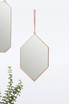 Miroir mural cuivre en losange