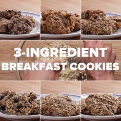 Breakfast Cookies Breakfast Cookies More from my Ingredient Breakfast Cookies 3 Ingredient Breakfast Cookies Perfect for a healthy on-the-go breakfast. They're so delicious my family eats the whole batch in Oatmeal Chocolate Chip Cookies Healthy Cookies, Healthy Sweets, Healthy Breakfast Recipes, Healthy Baking, Healthy Snacks, Healthy Recipes, Healthy Breakfast Cookies, Coconut Cookies, Healthy Muffins