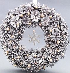 Christmas Door Wreath  White Pinecone Christmas Wreath by KatDeco