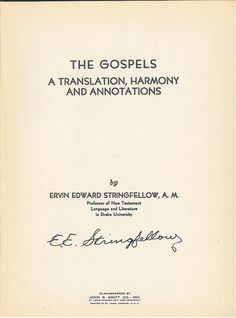 Stringfellow Gospels Title, Bible In My Language