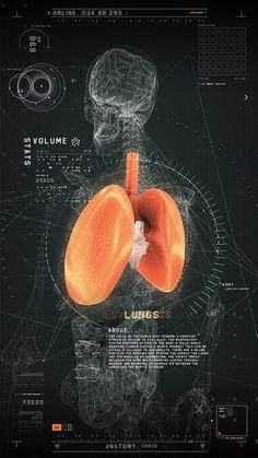 Design d'interface et d'application au design futuriste pour le domaine médicale d'un poumon.