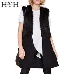 HYH HAOYIHUI 2016 Brand New Autumn Winter Women Fashion Split Hem Woolen Contrast Coat Solid Black Sleeveless Loose Outwear