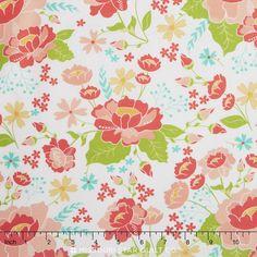 Lulu Lane - Flower Garden White Yardage