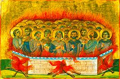 Martyrs Atticus, Agapius, Eudoxius, Carterius, Istucarius (Styrax), Pactobius (Tobias), and Nictopolion suffered during the reign of Emperor Decius in the city of Sebaste (320 AD). They were warriors who admitted to being Christian. After various torments they were burned. They are celebrated November 3. Day Of Pentecost, Religious Icons, Orthodox Icons, Atticus, Tobias, Emperor, Reign, Catholic, Creatures