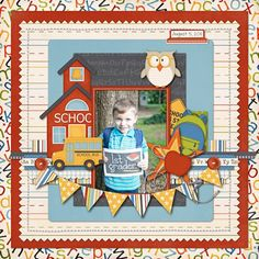 First Day of First Grade School Scrapbook Layout School Scrapbook Layouts, Album Scrapbook, Scrapbook Layout Sketches, Baby Scrapbook, Scrapbook Paper Crafts, Scrapbooking Layouts, Scrapbooking Digital, School Pictures, Cardmaking