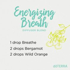 Doterra energizing breath diffuser blend: Breathe, Bergamot, Wild Orange