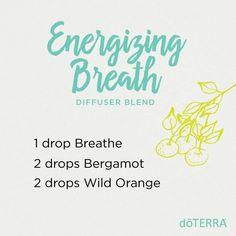 Doterra energizing breath diffuser blend: Breathe, Bergamot, Wild Orange