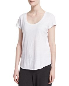 Slubby Short-Sleeve Scoop-Neck Tee, Women's, White - Eileen Fisher