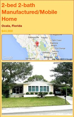 2-bed 2-bath Manufactured/Mobile Home in Ocala, Florida ►$44,900 #PropertyForSale #RealEstate #Florida http://florida-magic.com/properties/82155-manufactured-mobile-home-for-sale-in-ocala-florida-with-2-bedroom-2-bathroom