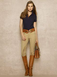 Leather-Trimmed Cotton Polo - Polos Polos - RalphLauren.com
