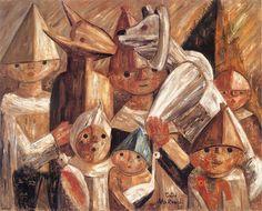 Makowski, Tadeusz - 1929 Children with Turino (National Museum, Warsaw, Poland) Post Impressionism, France, Old Art, Cubism, National Museum, Archaeology, Landscape Paintings, Art Dolls, Fine Art