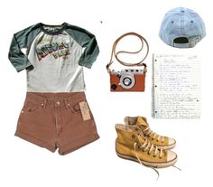 """""""Untitled #70"""" by vivi-g6 on Polyvore featuring Rowdy Sprout, Wrangler, Converse, shorts, converse, hat and camera"""