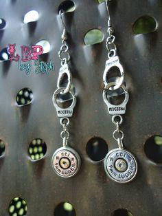 Handcuff 9mm Pistol Ammo Dangle Earrings, $19  ammo earrings, bullet earrings, pistol earrings, police earrings, 9mm earrings, ammo jewelry