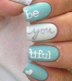 Be you tiful design! Mint and white nails with silver pinned with Pinvolve - pinvolve.co