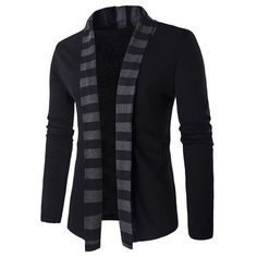 $16.66 Slim-Fit Striped Shawl Collar Cardigan